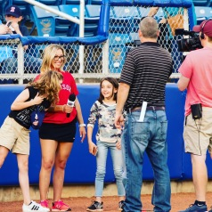 Suzie Cool andf the play ball kid for the Salem Red Sox May 2018